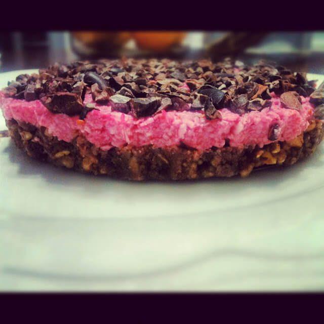 raw raspberry coconut tart